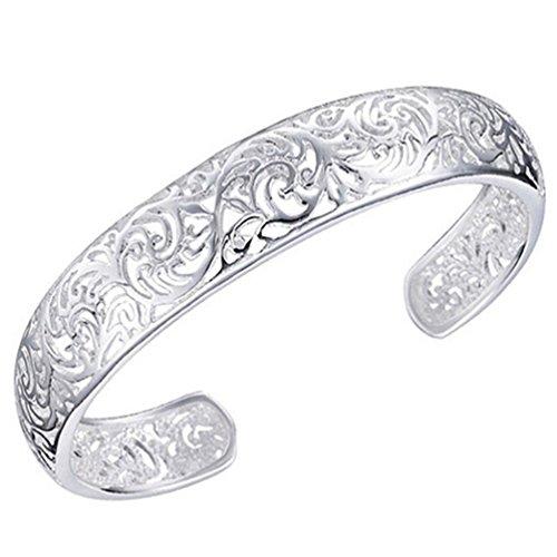 amesii Damen 925Sterling Silber Lünette Hohl Armreif öffnen Armband