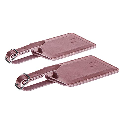 SwissElite Genuine Leather Luggage Tags & Bag Tags 2 pieces Set in 5 Color (Pink)