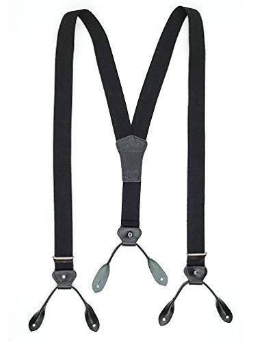 Stars & Stripes Hosenträger mit Lederlaschen schwarz Herren Old Style Westernbekleidung Oldstyle Westernoutfit Schwarz