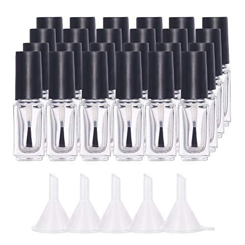 BENECREAT 24 Pack 5ml Botella Vacía de Vidrio Transparente de Esmalte de Uñas con Tapa de Cepillo 5 PCS Embudos Contenedor Cristal de Esmalte de Uñas para Esmalte de Uñas DIY