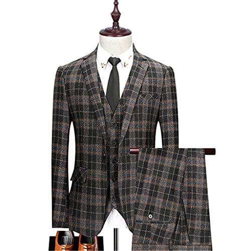 LEPSJGC メンズチェック柄ウェディングスーツスリムフィットスーツメンズコスチュームビジネスフォーマルパーティークラシックブレザー (Color : Gray, Size : L code)
