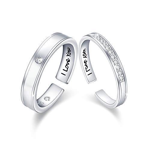"""Paar Ring 925 Sterling Silber Verstellbarer Diamant Offener Ring 5A Zirkonia Runde Spaltringe Platiniert Eleganter Verlobungsring Eheringe für Männer Frauen """"I LOVE YOU"""" Glänzendes Leben mit Ihnen"""