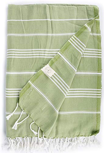 Bersuse - Telo turco, 100% cotone, motivo: Anatolia, XXL, colore: Verde oliva