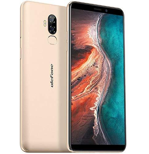 【2019】 Ulefone P6000 Plus, 4G Dual SIM Smartphone Ohne Vertrag (6350mAh großer Akku & Schnellladung) - 6,0 Zoll Android 9.0 Handy - Quad-Core 3GB + 32GB, 5MP + 13MP, Gesichtsentsperrung OTG Gold