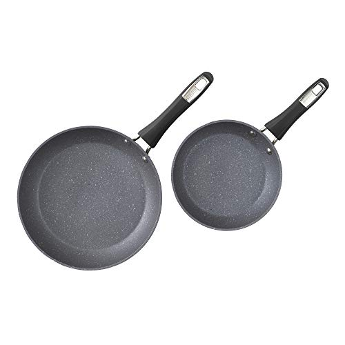 Bialetti Impact, , textured nonstick surface, oil distribution,8 and 10 inch fry pan 2 pack, gray