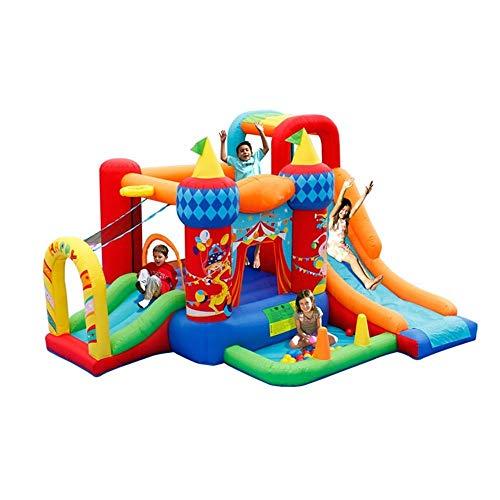 Castillo hinchable para interior con canasta de baloncesto Jump and Slide, zona de juego, 118 x 142 x 83 pulgadas