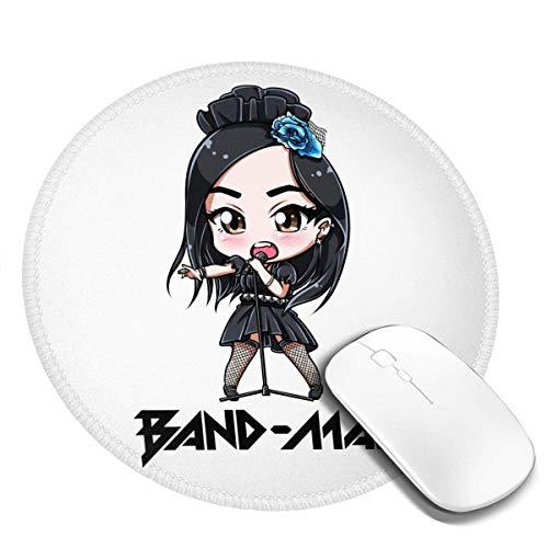 Band-Maid Stylish Round Mouse Pad 7,9 x 7,9 Zoll rutschfeste Mauspad, geeignet für zu Hause/Büro/Spiel