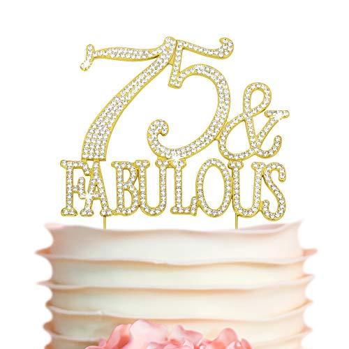 75 & Fabulous Rhinestone Cake Topper