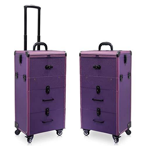Trousse De Voyage Femmes grande capacité Chariot cosmétique Case Sac à roulettes Bagages, Nails Boîte à outils de maquillage, multi-couche Beauté Tattoo Trolley Valise (Color : Purple)