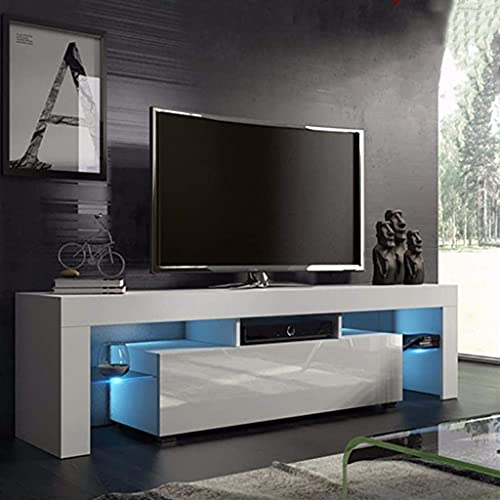 JOSHUA LED TV Stand Cabinet Unit Modern TV Desk with Storage for Living Room Home Forniture 130CM Width White Matt Body and High Gloss Door W/Free LED Light, White, 130cm×35cm×45cm