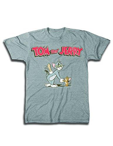 Mens Tom & Jerry Battle Shirt - Classic Hanna-Barbera Tee - Vintage Cartoon Chase T-Shirt (White Airbrush, Medium)