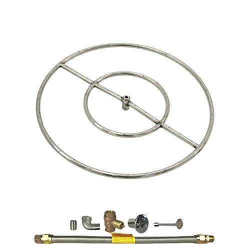 Spotix Round HPC Match Lit Fire Pit Burner Kit, 24-Inch Burner, Natural Gas, Polished Chrome