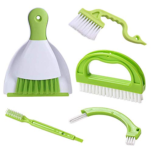 Hand-held Dustpans Grout Brush Groove Gap Cleaning Tools set, LeeLoon Household Cleaning Brushes for Table, Desk, Countertop, Key Board,Shower,Bathroom,Kitch,Door Window Track,Seams,Floor Lines,5 pack