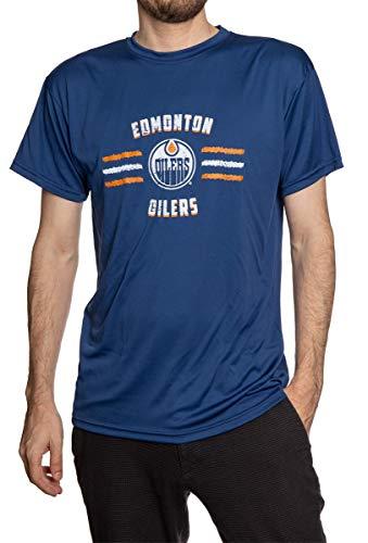NHL Mens Distressed Lines Loose Fit Performance Rashguard Wicking Short Sleeve Shirt (Edmonton Oilers, Medium)