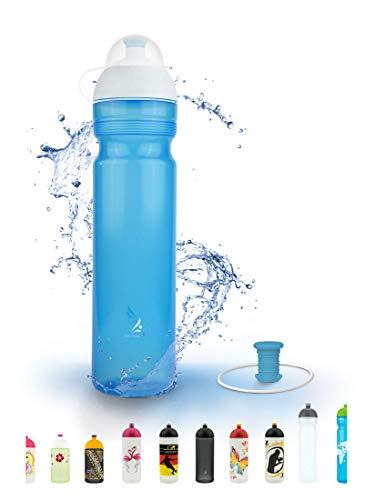 FreeWater Trinkflasche, 1000ml, Logo klein blau: schadstofffrei, spülmaschinengeeignet, auslaufsicher, langlebig