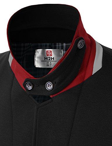 H2H Men's Velvet Stretch Sportcoat Blazer BLACK US M/Asia L (KMOBL01)