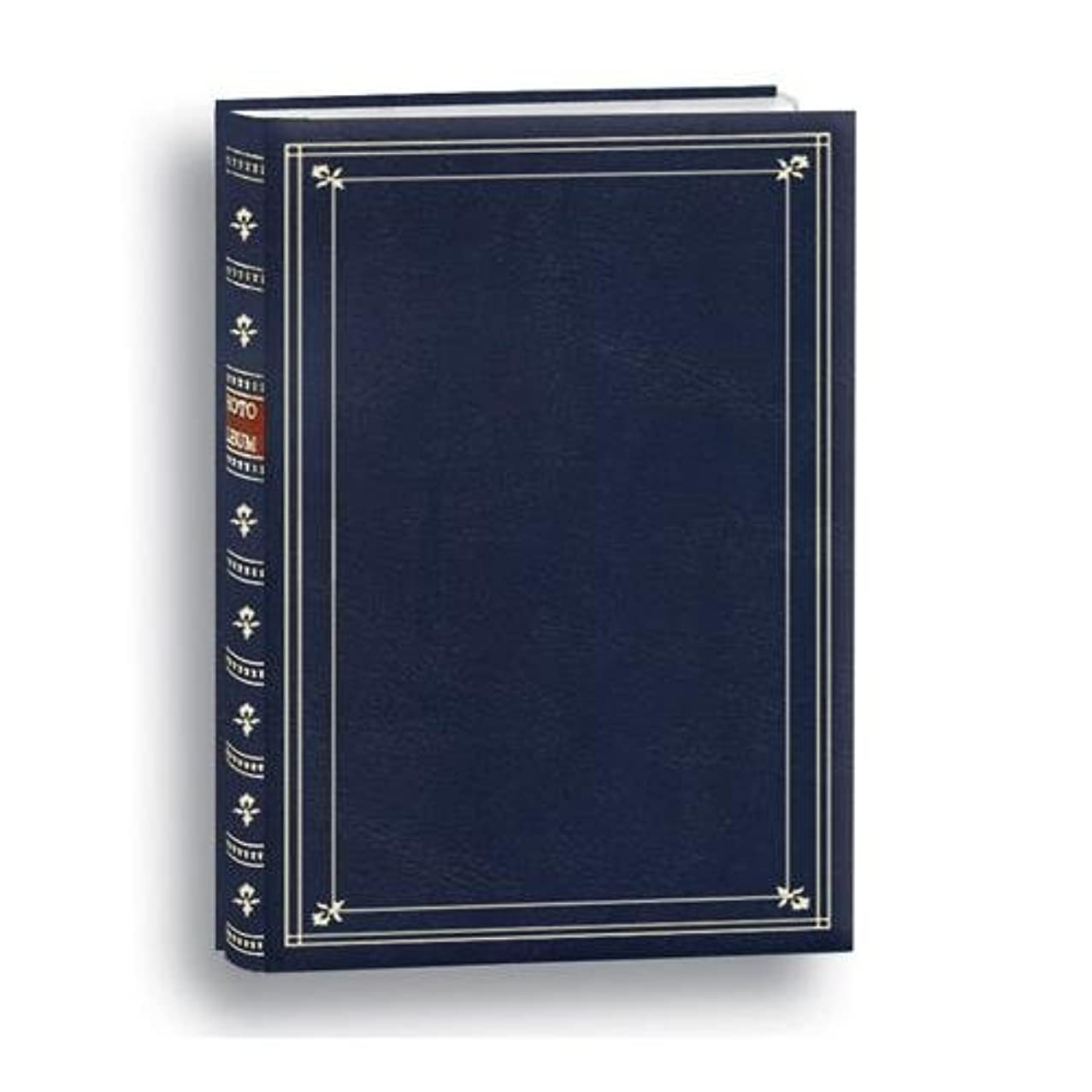 Pioneer Post Bound, Clear Pocket Photo Album with Solid Assorted Colors Covers, Holds 200 4x6 Photos, 3 Per Page, Color: Navy Blue.