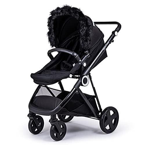 Fylo Pram Fur Hood Trim Attachment Faux for Pushchair/Buggy/Stroller/Travel System - Black