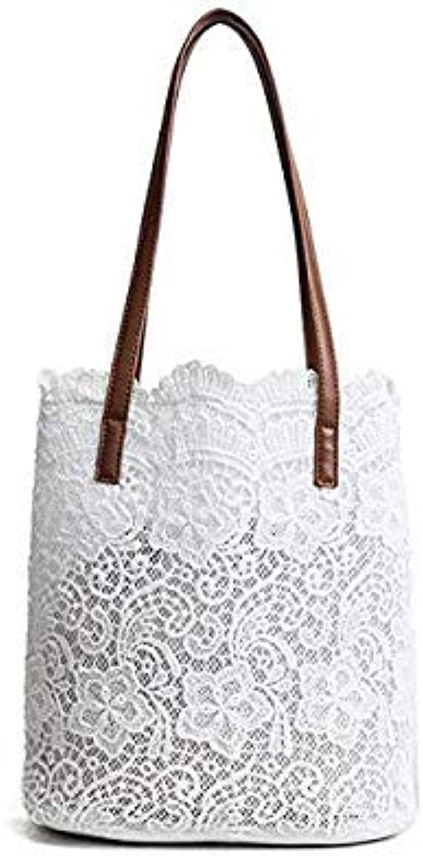 Summer lace Shoulder Bag Women White Black Bucket Handbag Drawstring Large Tote Bags sac a Main Casual Female Hand Bag xa339wb White