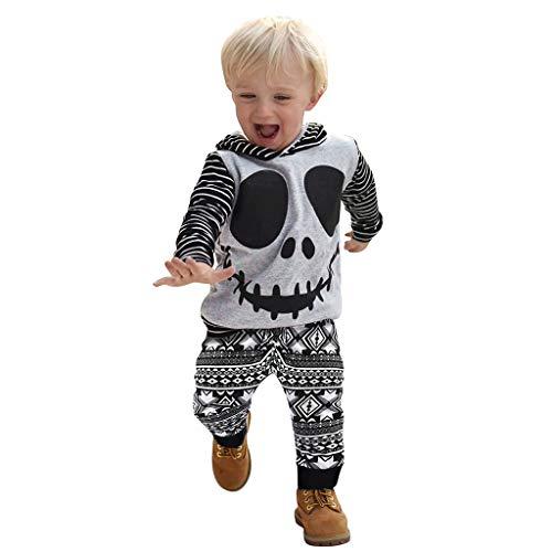 Bébé Garçons et Filles Vêtements Ensemble Hiver Chaud Dessin animé d'Halloween print imprimé rayéSweats à Capuche Sweat-Shirt et Pantalon géométrique