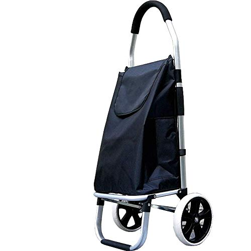 Küchenks Folding Portable Climbing Shopping Cart Shopping Cart Small Cart Light Big Wheel Small Trailer Platform Hand Crate (Color : Black, Size : 33 * 28 * 102cm)