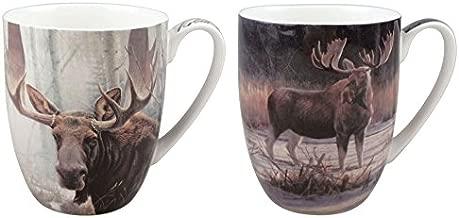 2 Coffee or Tea Mugs, Robert Bateman Moose in a Matching Gift Box
