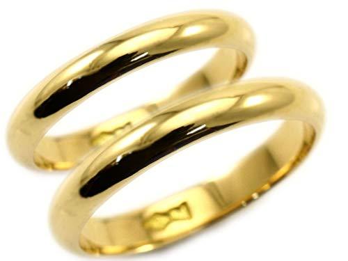 [京都ジュエリー工房] 結婚指輪 マリッジリング 18金 ゴールド ペアリング 甲丸 2本セット 財務省造幣局検定マーク ホールマーク メンズ レディス 18k 両用 外側ダイヤ:レディース/メンズともに1個付き mari-kou-k18-2_D01 メン