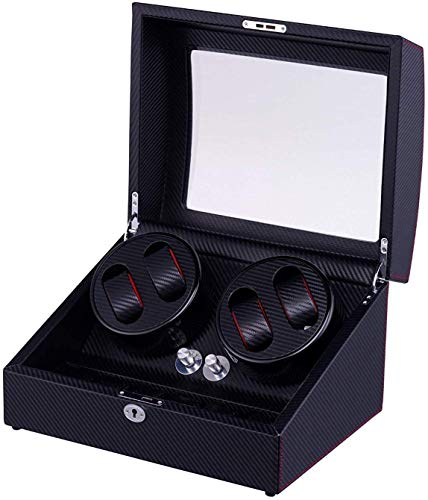 WXDP Enrollador de Reloj automático,Relojes refinados y Elegantes Caja enrolladora de automática con 4 Posiciones de 6 Espacios de Almacenamiento Carcasa de Madera Pintura de Piano Caja Enrollado
