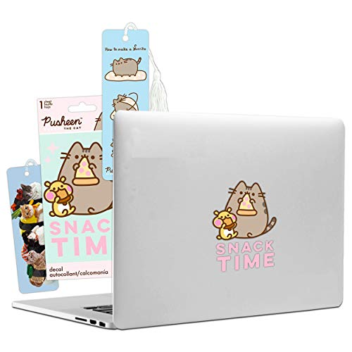 Pusheen Cat Decal Bookmark Bundle Pack ~ Pusheen Decal Sticker for Walls Auto Laptop and Pusheen Bookmark with Extra Sushi Cat Bookmark (Pusheen the Cat Party Supplies Office Supplies School Supplies)