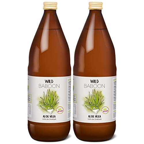 Aloe Vera Saft, 100% BIO Direktsaft, garantierte Aloverose: 1200mg/Liter, 2 x 1 Liter, nachhaltiger Anbau durch Familienbetrieb, Braunglas, Vegan, DE-ÖKO-005