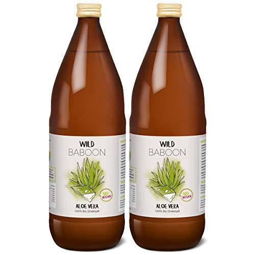 Wild Baboon Bio Aloe Vera Saft | 100% Direktsaft | 1200mg/Liter Aloverose | 2 x 1 Liter | nachhaltiger Anbau durch Familienbetrieb | Braunglas | Vegan | DE-ÖKO-005