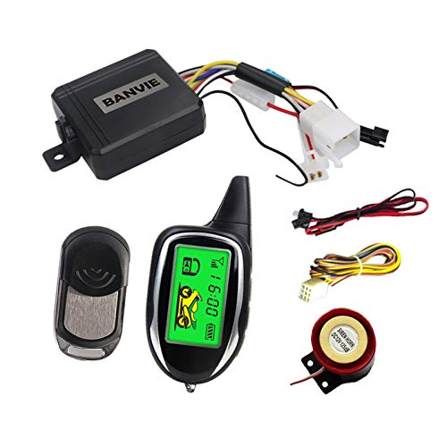 BANVIE 2 Way Motorcycle Security Alarm System with Remote Engine Start, Scooter Alarm with Shock Sensor & Motion Sensor DC12V