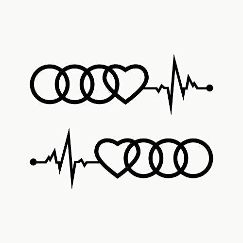 Autodomy Kompatibel mit Audi Reifen Herz Cardio Aufkleber Paket 2 Stück für Auto (Schwarz)