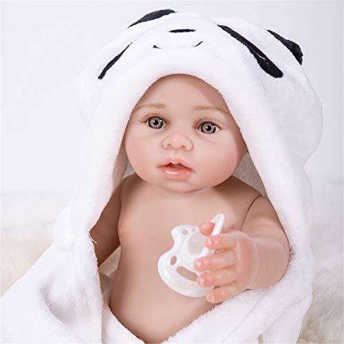 GUALA 17 Zoll Waschbar Rebirth Baby Doll Handgemachte volles Silikon Realistische Rebirth Baby Doll lebensechte Nette Badeplüschtiere mit Cute Panda Bademantel