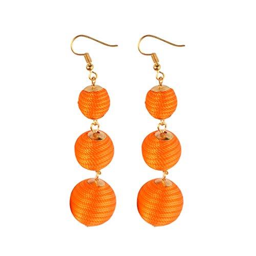 MagiDeal Dangle Boucles doreilles Boho Fil Trois Billes Longue Linéaire Piercing - Orange