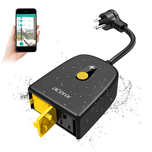 Acenx Outdoor Smart Plug Outlet Waterproof,WiFi Christmas Light Timer Works with Alexa Google Home,Smart Outdoor WiFi Timer for Light Strip Projectors,Schedule&Timer by App,2.4Ghz WiFi Only