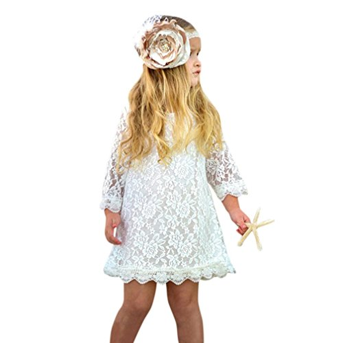 K-youth Ropa Bebe Niña, Verano Recién Nacido Bebé Vestido de Princesa Lindo Partido Trajes Dulce Vestidos Bebé Niña Encaje Princesa Vestidos Blanco (Blanco, 3 Años)