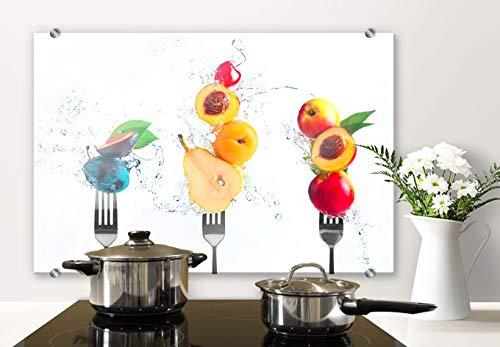 Spatscherm Keuken - Vers Fruit - Hittebestendig Glazen Spatwand inclusief Luxe Wandklemmen - 100x70 cm (bxh)