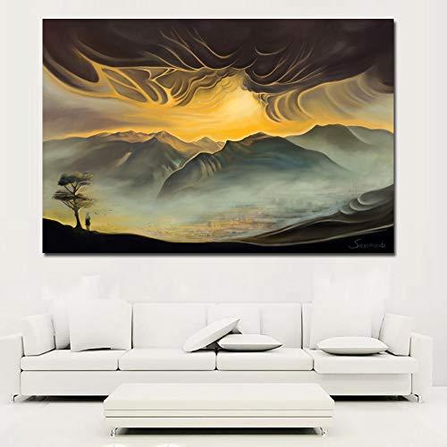SADHAF Leinwand dekoriert See und Berge abstrakte Kunstwerke Wandkunst Wohnkultur Malerei A5 60x90cm