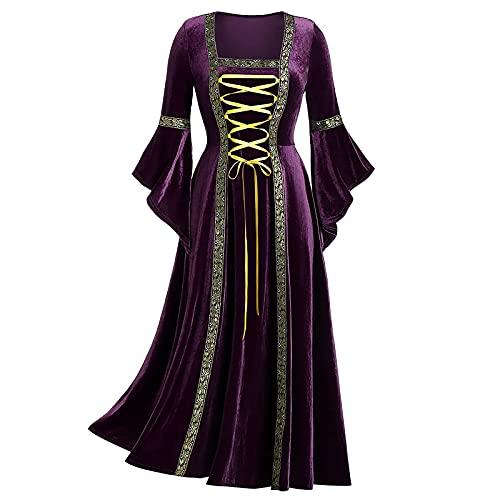 CYGGA Damer medeltida gotisk kostym eleganta retro klänningar gyllene sammet förband kläder viktoriansk renässans prinsessa barock rokoko kläder, lila, S