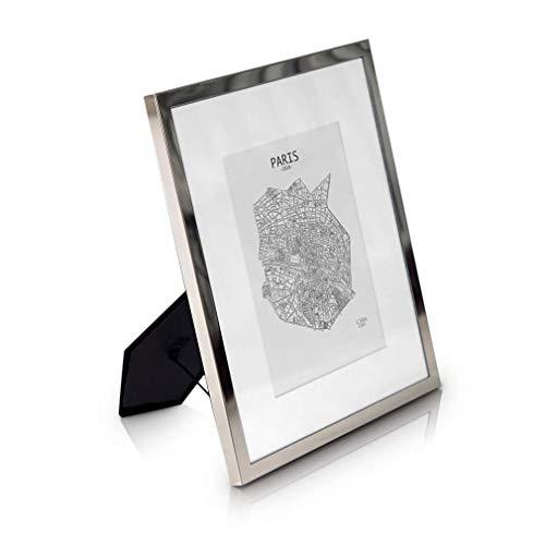 Elegance by Casa Chic Bilderrahmen 20x25 cm Silber - Mit Passepartout für 13x18 cm Foto - Front aus Glas - 1,5 cm Rahmenbreite - Versilbert