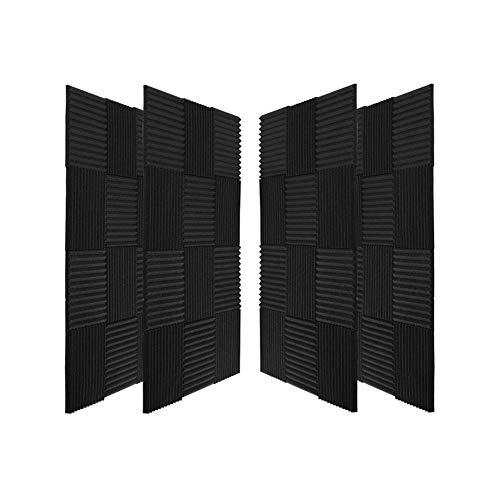 """guohongus 50 Pack Ice Black Acoustic Panels Studio Foam Wedges 1"""" X 12"""" X 12"""" (50pack, Black)"""