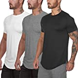 Muscle Killer 3 Pack Men's Gym Workout Bodybuilding Fitness Active Athletic T-Shirts Workout Casual Tee (Small, Black+Gray+White)