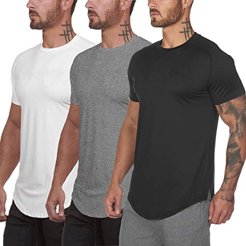 Muscle Killer 3 Pack Men's Gym Workout Bodybuilding Fitness Active Athletic T-Shirts Workout Casual Tee (X-Large, Black+Gray+White)