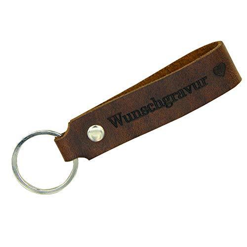 Tidero Schlüsselanhänger aus Leder mit Wunschgravur, individuelle Gravur, beidseitig - Schlüsselring Schlüsselband Schlüsselbund - Geschenk für Männer Frauen, 100% Handmade in Germany - Wild Brown