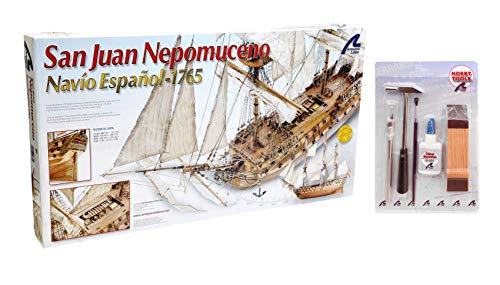 Artesania Latina 22860. Maqueta de barco en madera. Navio Español San Juan Nepomuceno. Escala 1/90 + Multiherramienta 4 en 1