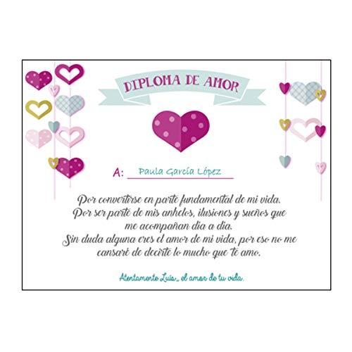 Diploma de Amor Personalizado/Regalo Pareja Enamorados/Novio/Novia/Chico/Chica/Hombre/Mujer/Para San Valentin Navidad Aniversario Cumpleaños Navidad