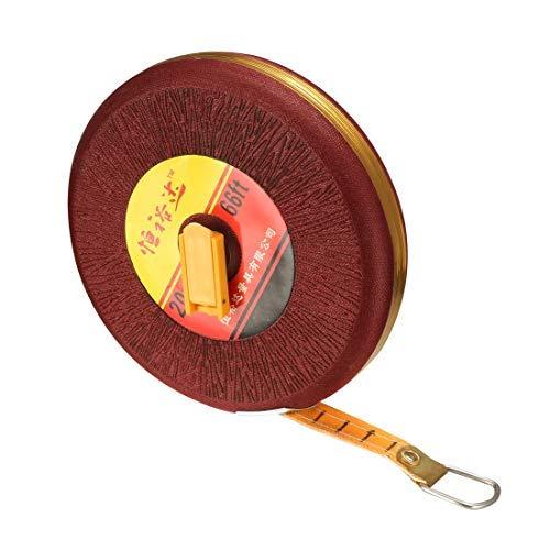 DealMux Long Tape Measure 65ft / 20m Fiberglas-Messlineal für den BAU Maurerarbeiten Zimmerei Rot