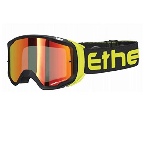 Ethen Gafas/Máscara de Ciclismo, Motocross y Enduro, Lente Cilíndrica Espejada Antivaho, en...