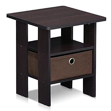 Furinno 11157DWN End Table Bedroom Night Stand w/Bin Drawer, Dark Walnut
